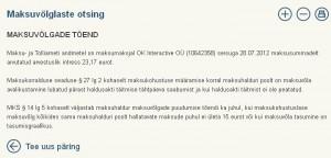 OK Interactive OÜ maksuvõlgade tõen näitab tasumata intressi ehk maksuvõlga