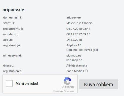 aripaev.ee aadress on nii ajaleht kui spam kirja serveri alamdomeen.