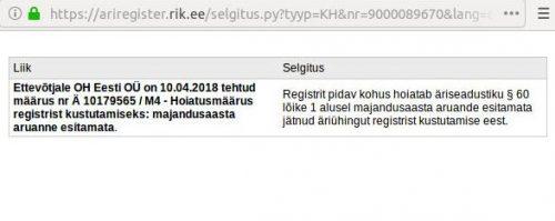 Ettevõtjale OH Eesti OÜ on 10.04.2018 tehtud määrus nr Ä 10179565 / M4 - Hoiatusmäärus registrist kustutamiseks: