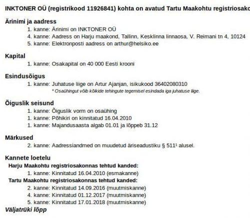 INKTONER OÜ (registrikood 11926841) registrikaart
