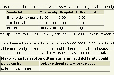 pirita pärl OÜ reg 11552547 unpaid tax maksuvolg maksuamet info tasumata krediit
