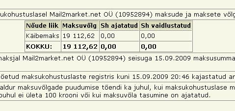 mail2market.net firma maksuvõlg tax liabilities