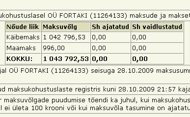 fortaki maksuvõlg tax liabilities