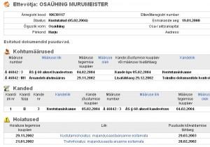 murumeister registrist kustutamine 2002 aruande esitamata eest