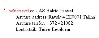 baltictravel.ee omanik on likvideerimisel olev baltic travel aktsiaselts