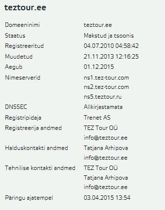 teztour.ee whois