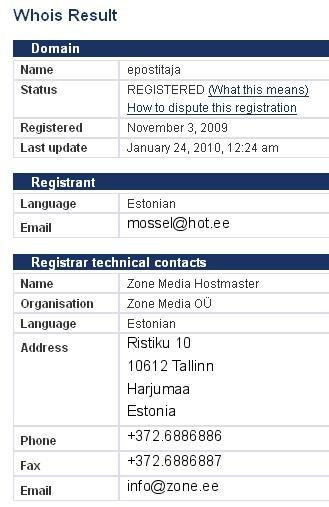 epostitaja.eu whois info mossel@hot.ee
