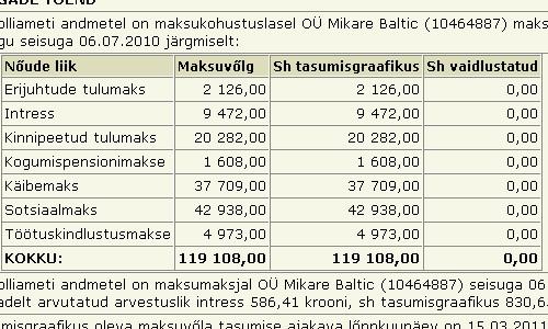 mikare baltic ehk mikare.net tasumata maksud juuli 2010