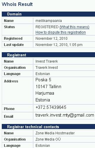 whois meilikampaania.eu kohta traverk invest spam