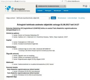 Esmakande aeg: 20.09.2012, 21.04.2017.a määrusega nr Ä 10173992 / 4 otsustati kustutada Urmo Valle nimel olev Estonian Marketing OÜ (registrikood 12348783) äriregistrist.
