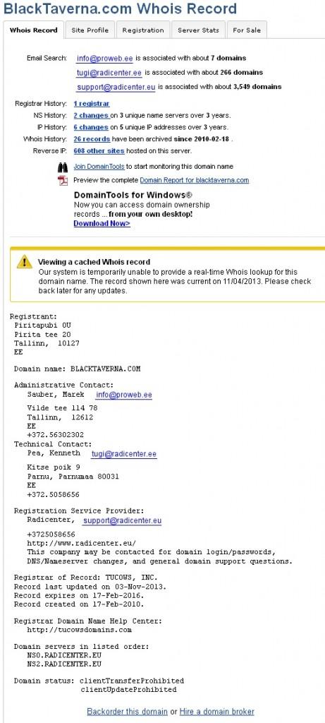 whois blacktaverna.com on registreeritud mitte eksisteerivale firmale