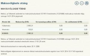 OÜ RKV Investments (11231688) maksude ja maksete võlg