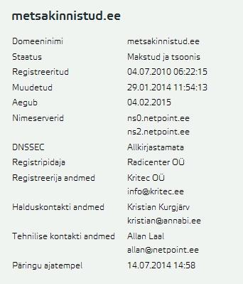 metsakinnistud.ee on ümber vormistatud Kritec OÜ nimele