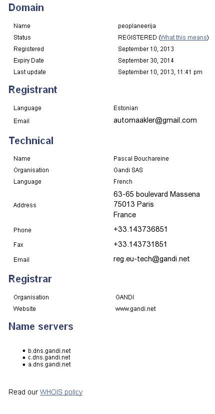 peoplaneerija.eu whois info automaakler @gmail.com