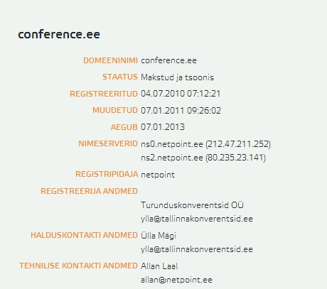 conference.ee whois
