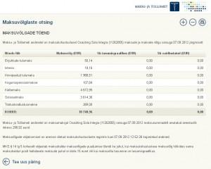 Osaühing Sola Integra (11262855) maksude ja maksete võlg sisuga 7.09.2012