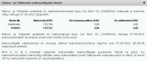Easy Car Rent OÜ maksuvõlg 7.09.2012 seisuga Äriregistri lehelt