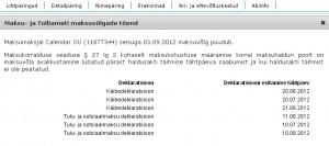 Calendar OÜ esitamata juuni, juuli ja augusti deklaratsioonid