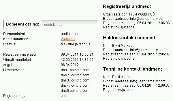 uudiskiri.ee whois info 22.11.2011