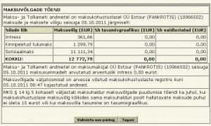 Estour OÜ maksuvõlg 5.11.2011 seisuga