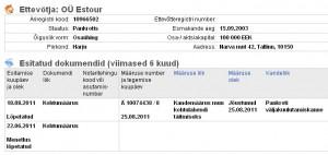 Estour OÜ pankroti välja kuulutamne 28.08.2011
