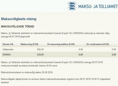 Maksukohustuslasel Kasseti Expert OÜ (10993930) maksude ja maksete võlg seisuga 08.07.2018