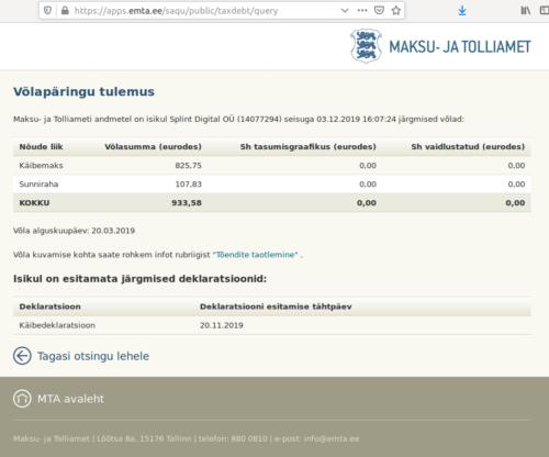 Splint Digital OÜ (14077294) tax debt