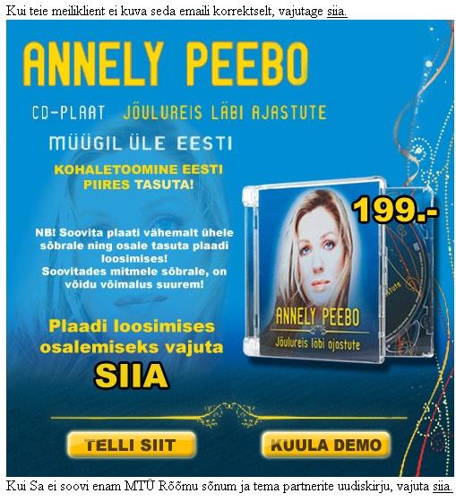 Annely Peebo spam kiri cd plaat jõulureis läbi ajastute