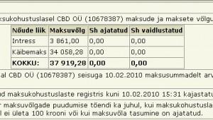 cbd oü maksud tasumata likvideeritud firma