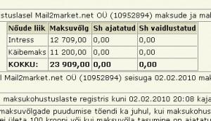 mail2market unpaid tax liabilty
