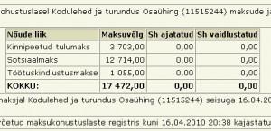 overline.ee ehk firma kodulehed ja turundus OÜ tasumata riigimaksud