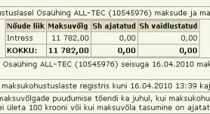 Osaühing ALL-TEC (10545976) maksude ja maksete vőlgu