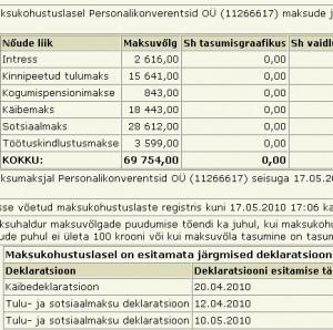 Personalikonverentsid OÜ (11266617) maksude ja maksete vőlg