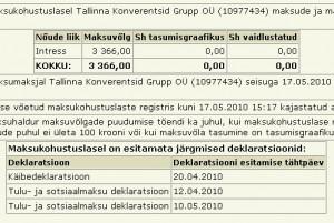 Tallinna Konverentsid tasumata maksud