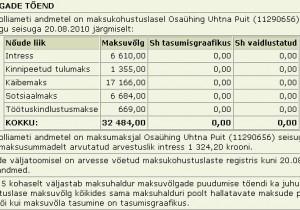OÜ Uhtna puit tasumata maksud