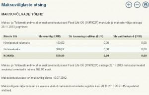 Food Life OÜ (11979027) maksude ja maksete vőlg