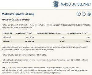 Urmo Mark firmal Prima Velloce OÜ (12837393) on maksude ja maksete võlg 30 934 eurot ja seisuga 01.08.2017 maksusummadelt arvutatud arvestuslik intress 9 764,97 eurot. Maksuvõlg on alates 21.09.2015.