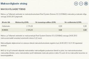 Roof System Estonia OÜ (12316642) maksude ja maksete vőlg