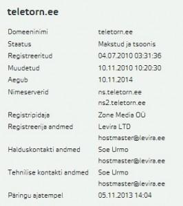 teletorn.ee whois